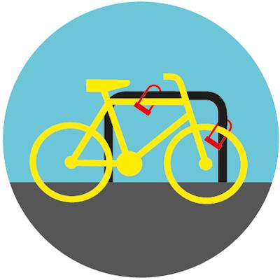 Zapinaj ramę i przednie koło do stojaka rowerowego.