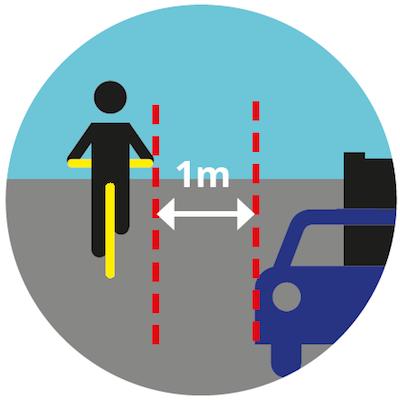 Zachowaj odstęp od krawężnika lub zaparkowanych aut